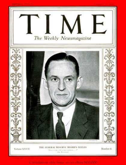 Time - Marriner S. Eccles - Feb. 10, 1936 - Finance - Great Depression - Business