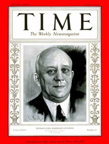 Time - Martin W. Clement - Mar. 16, 1936 - Great Depression - Transportation - Business