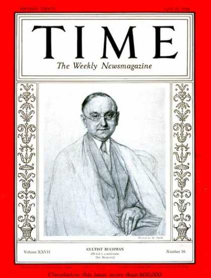Time - Frank N.D. Buchman - Apr. 20, 1936 - World War II - Missionaries - Religion
