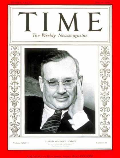 Time - Governor Alfred Landon - May 18, 1936 - Governors - Kansas - Presidential Electi