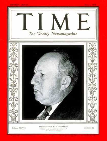 Time - Senator Patton Harrison - June 1, 1936 - Pat Harrison - Congress - Senators - Mi