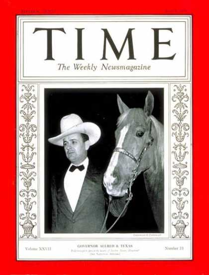 Time - Governor James V Allred - June 8, 1936 - Governors - Texas - Politics