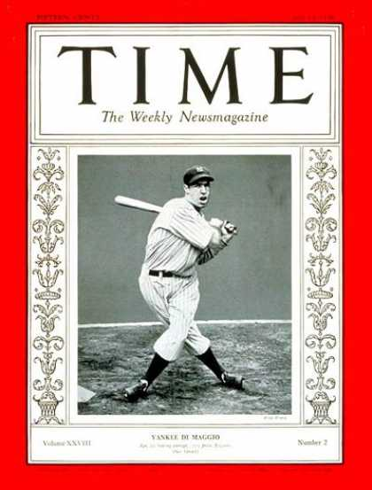 Time - Joe DiMaggio - July 13, 1936 - Baseball - New York - Most Popular - Sports