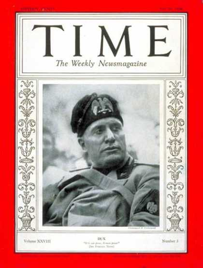 Time - Benito Mussolini - July 20, 1936 - Facism - Italy - World War II - Military
