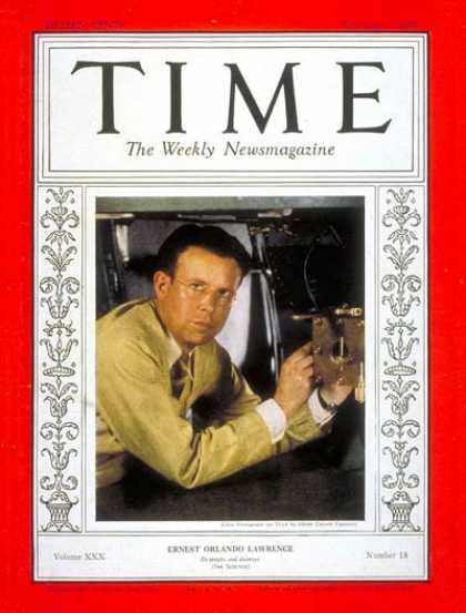 Time - Ernest O. Lawrence - Nov. 1, 1937 - Inventions - Science & Technology - Physicis