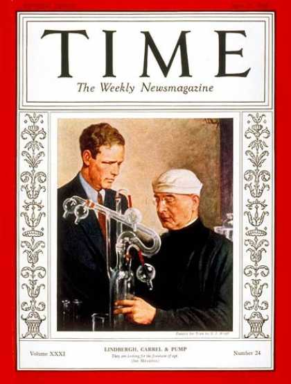 Time - Charles A. Lindbergh & Dr. Alexis Carrel - June 13, 1938 - Charles Lindbergh - A