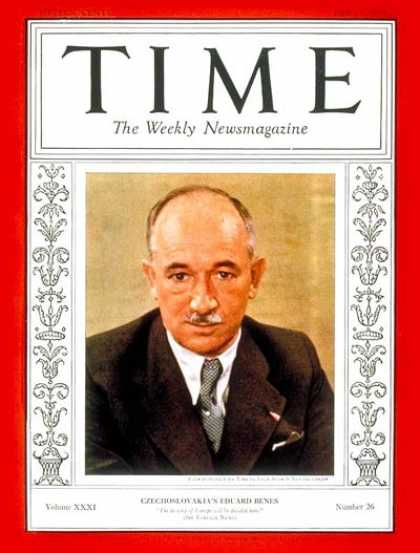 Time - Eduard Benes - June 27, 1938 - Czechoslovakia