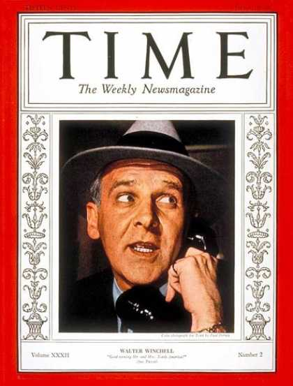 Time - Walter Winchell - July 11, 1938 - Journalism - Gossip