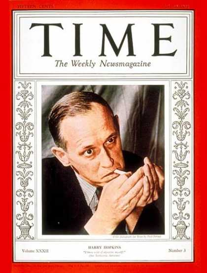 Time - Harry L. Hopkins - July 18, 1938 - Harry Hopkins - Great Depression - New Deal -