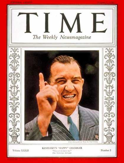 Time - Albert B. Chandler - Aug. 1, 1938 - Baseball - Sports