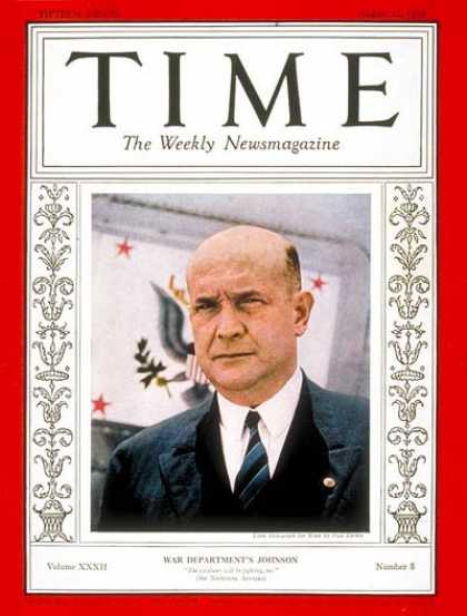 Time - Louis A. Johnson - Aug. 22, 1938 - Military - Politics