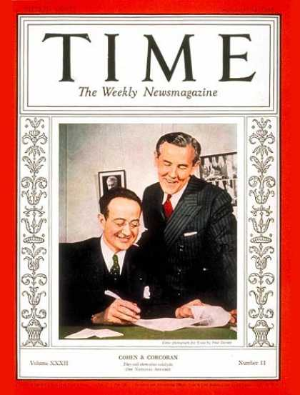 Time - Thomas Corcoran & Benjamin V. Cohen - Sep. 12, 1938 - Politics
