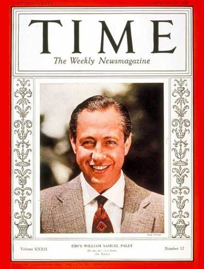 Time - William S. Paley - Sep. 19, 1938 - Radio - Broadcasting