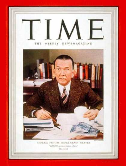 Time - Henry G. Weaver - Nov. 14, 1938 - Cars - Automotive Industry - Transportation -
