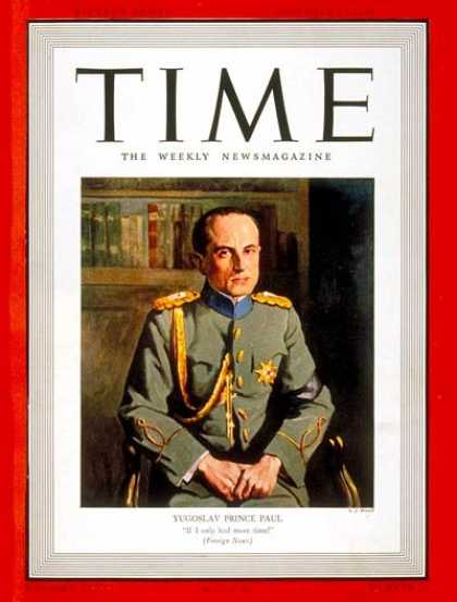 Time - Prince Paul - Dec. 12, 1938 - Yugoslavia - World War II