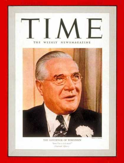 Time - Governor Julius P. Heil - Jan. 16, 1939 - Governors - Wisconsin - Politics