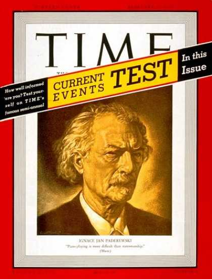 Time - Ignace J. Paderewski - Feb. 27, 1939 - Ignace Jan Paderewski - Pianists - Compos
