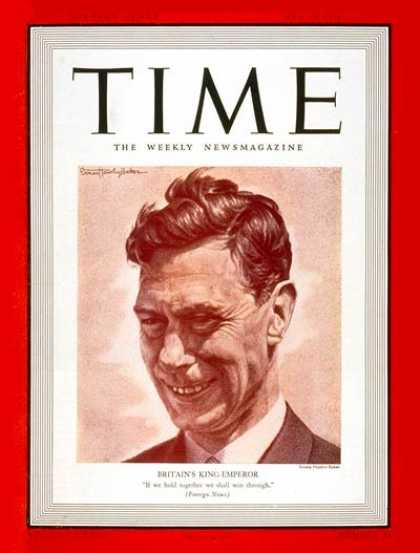 Time - King George VI - May 15, 1939 - Royalty - Great Britain