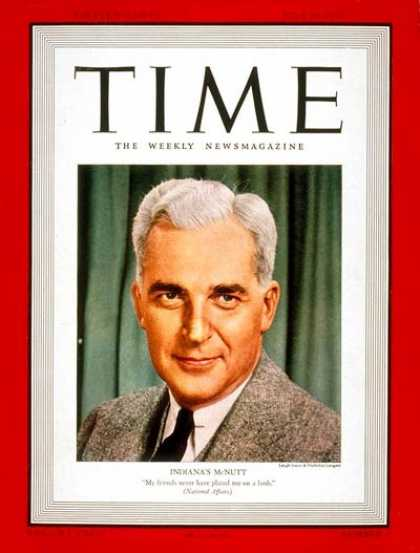 Time - Paul V. McNutt - July 10, 1939 - Governors - Indiana - Politics