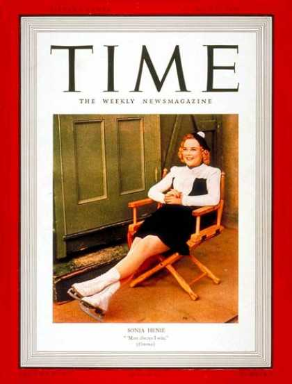 Time - Sonja Henie - July 17, 1939 - Ice Skating - Women - Sports