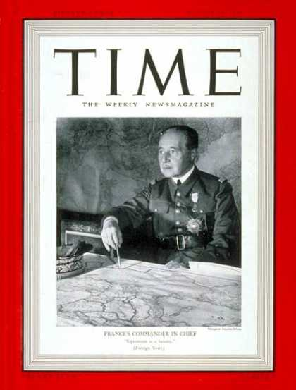 Time - Aug. 14, 1939 - World War II - France - Generals