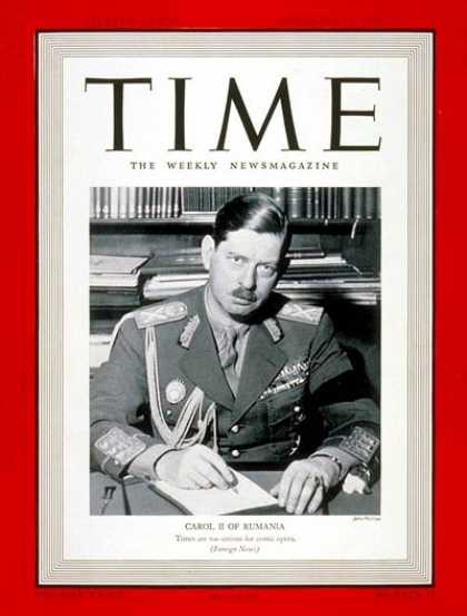 Time - King Carol II - Nov. 13, 1939 - Royalty - Romania