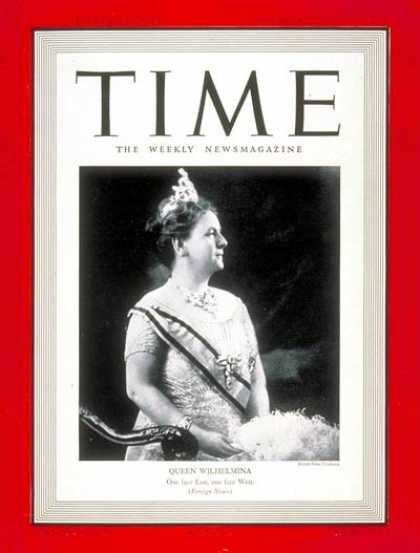 Time - Queen Wilhelmina - Nov. 27, 1939 - Royalty - Netherlands