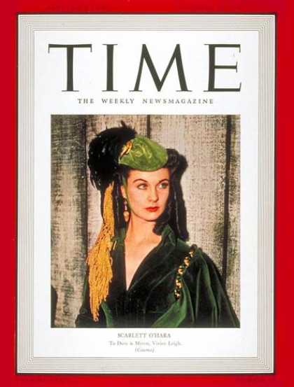 Time - Vivien Leigh - Dec. 25, 1939 - Actresses - Movies