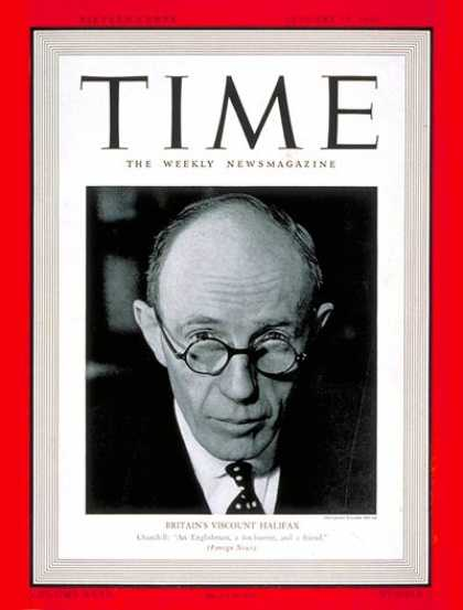 Time - Charles Lindley, Viscount Halifax - Jan. 15, 1940 - Religion