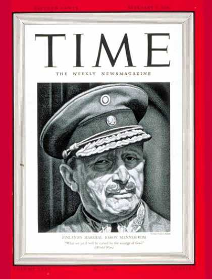 Time - Barron Mannerheim - Feb. 5, 1940 - Russia - World War II - Finland