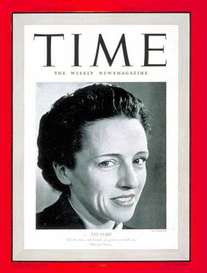 Time - Eve Curie - Feb. 12, 1940 - United Nations - NATO - Diplomacy