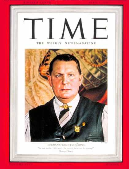 Time - Hermann Goring - Apr. 1, 1940 - Germany - Third Reich - Nazism