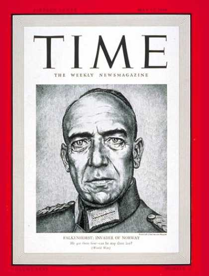 Time - General Von Falkenhorst - May 13, 1940 - World War II - Germany - Generals