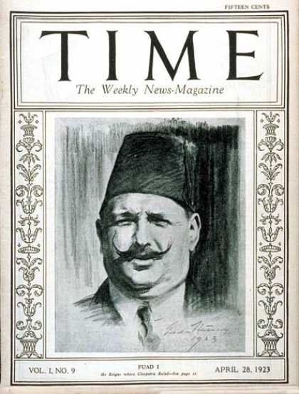 Time - King Fuad I - Apr. 28, 1923 - Royalty - Egypt - Middle East