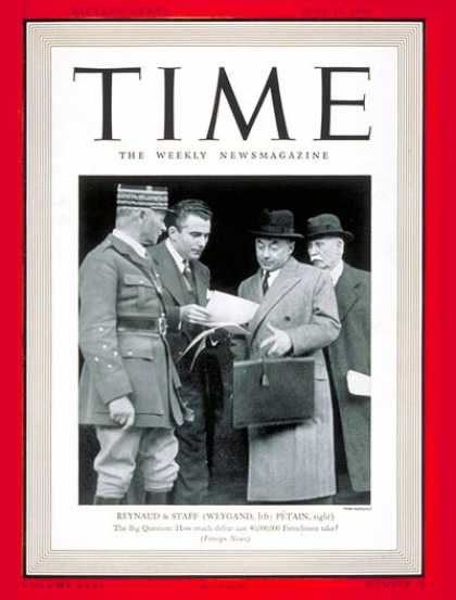 Time - Paul Reynaud - June 17, 1940 - World War II - France