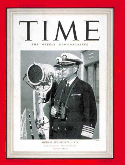 Time - Admiral Richardson - July 1, 1940 - Admirals - Navy - Military