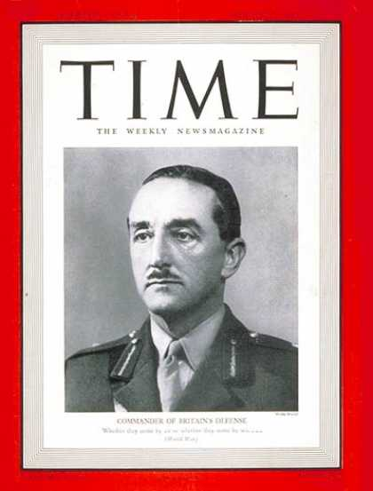 Time - Sir Alan F. Brooke - Aug. 5, 1940 - World War II - Great Britain