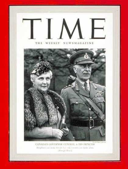 Time - Earl of Athlone - Sep. 2, 1940 - World War II - Canada