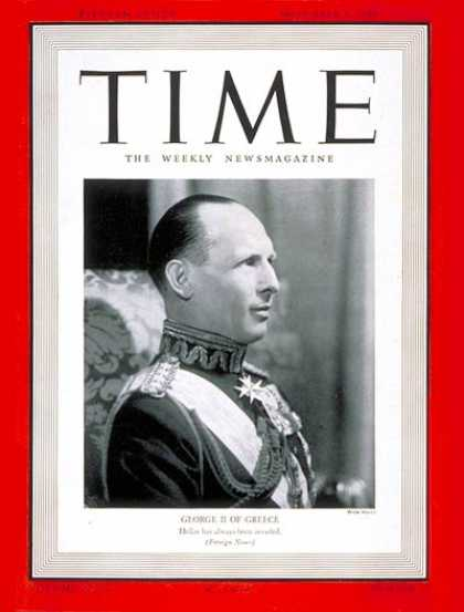 Time - King George II - Nov. 4, 1940 - Royalty - Greece - World War II