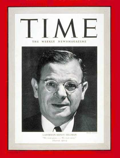 Time - Sidney Hillman - Dec. 2, 1940 - World War II - Labor Unions