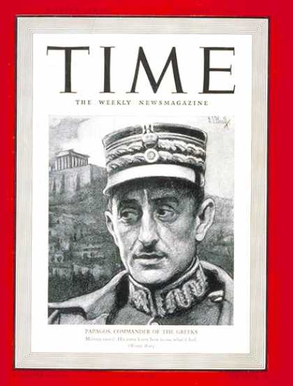 Time - Alexander Papagos - Dec. 16, 1940 - World War II - Greece