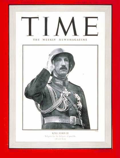 Time - King Boris III - Jan. 20, 1941 - Royalty - Bulgaria