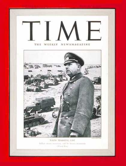 Time - Field Marshal List - Mar. 24, 1941 - Germany - Military - World War II - Nazism
