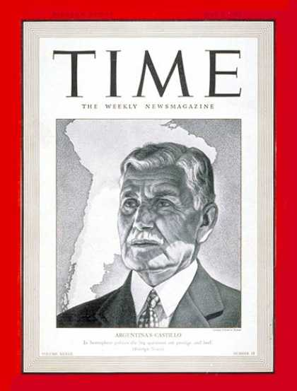 Time - Ramon S. Castillo - May 5, 1941 - Argentina - Latin America