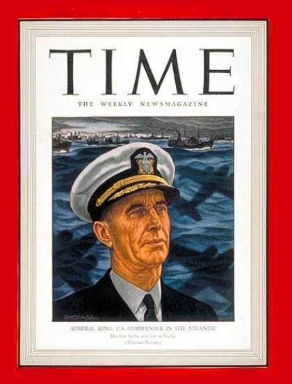 Time - Admiral Ernest J. King - June 2, 1941 - Admirals - Navy - Military