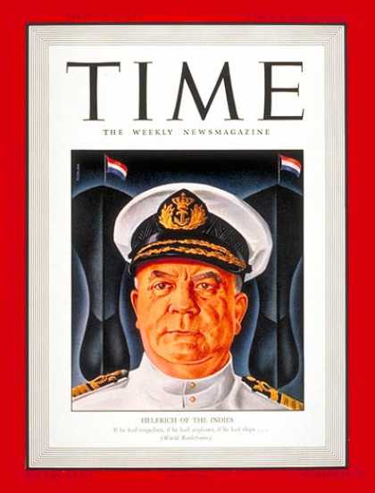 Time - Vice-Admiral Helfrich - Mar. 9, 1942 - Holland - Military - Navy