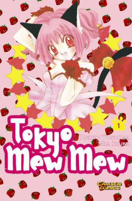 Tokyo Mew Mew 1 - Girl - Pink Hair - Red Dress - Gold Stars - Strawberries