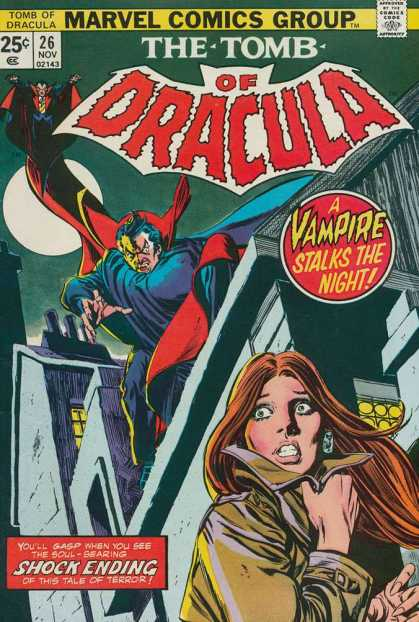 Tomb of Dracula 26 - Marvel Comics - A Vampire Stalks The Night - Shock Ending - Tale Of Terror - Trenchcoat