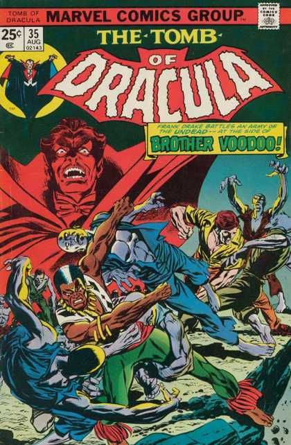 Tomb of Dracula 35 - Fangs - August - 25 Cents - Brother Voodoo - Vampire