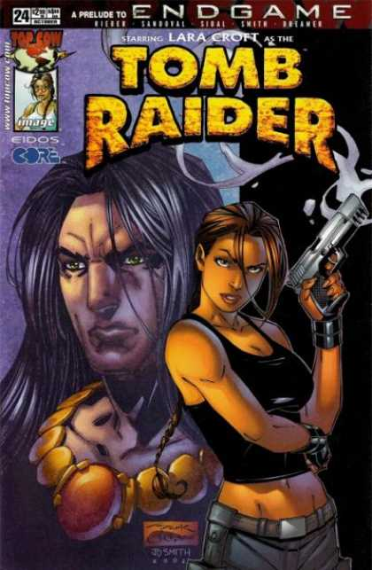 Tomb Raider 24 - Woman - Gun - Lara Croft - End Game - Smoke